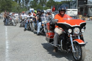 Riders line up at Perdue Stadium before the 3rd annual St. Jude's Ride