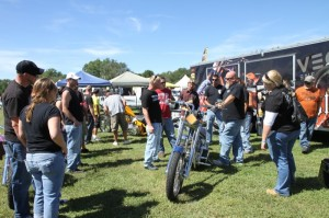Admiring the custom chops created by Vicious Cycles, on display at Winterplace Park
