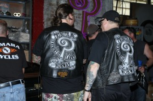 Erlend Engebretsen and Tony Gagermo from the Tribute MC in Memory of Indian Larry came from Norway to visit Larry's family and friends