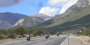 The pack heading east from the Mount Charleston Resort on Route 157