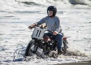 Anthony Cavazza and his 1940 Indian Scout get swallowed up by the surf