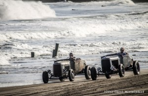 "A perfect matchup: Travis ""Tuki"" Hess in his Oilers #11 1929 Roadster Flathead V-8, neck and neck with Sheets in his 1929 Roadster Flathead V-8"