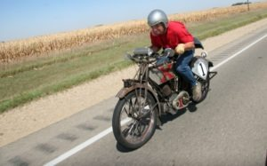 Brad Wilmarth returned to win the 2012 Motorcycle Cannonball aboard the same 1913 Excelsior that won the 2010 run. He did so by riding all of the 3,956 miles with a perfect score aboard the oldest motorcycle entered.
