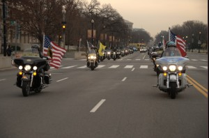 Patriot Guard Riders lead the Escort to Arlington