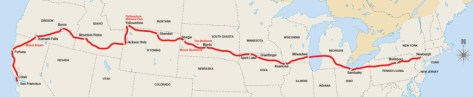 2012 Motorcycle Cannonball Route map