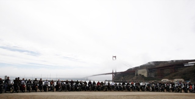 Triumphant Cannonballers gathered for a last photo before riding over the Golden Gate Bridge and across the finish line in South San Francisco, bringing the 2012 Motorcycle Cannonball Endurance Run to a glorious, and emotional, end