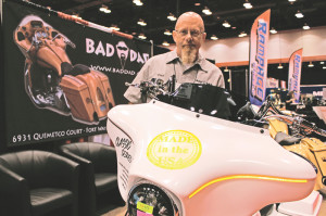 Bad Dad founder Derk Hinsey showing off their latest in Resin Transfer Molding technology