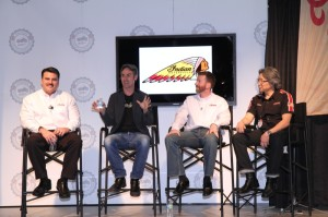 """Polaris VP of Motorcycles Steve Menneto, Mike Wolfe of """"American Pickers,"""" Polaris Dir. of Motorcycle Planning Gary Gray and Senior Industrial Designer Mike Song"""