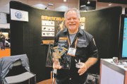 Lee Wimmer displays the new Wimmer Cycle Products' EZ Release, which won him the Value Product of the Year award