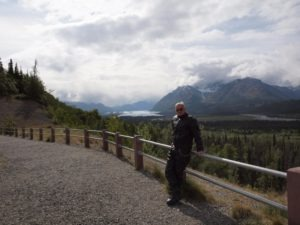 The author along the Glenn Highway with the Worthington Glacier over his right shoulder