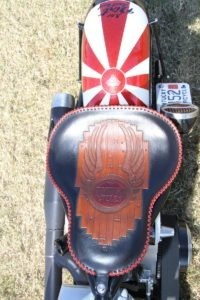 The Duane Ballard seat features some wood grain details in honor of the owner's occupation