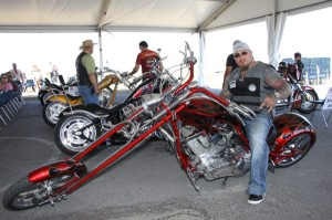 Demon, President of the Calaveras MC Corpus Southside Chapter, entering his Big Bear Athena Springer model in the bike show