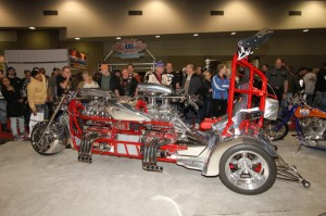 This wild dual V-8-powered custom trike built by Gary Reis took the second spot in the Premier Class