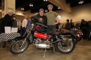 Ky Michaelson stands with the author and Ky's rocket-powered '77 Sportster