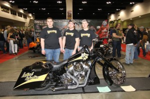 "Some of the kids from Perham High School who built ""Lethal Injection"" in honor of S&S Cycle's 55th anniversary. The bike took Best Radical in the Open Class"