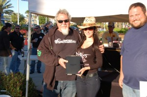 Jerry Covington receives his new Kindle Fire from Amanda of Lawbike.com