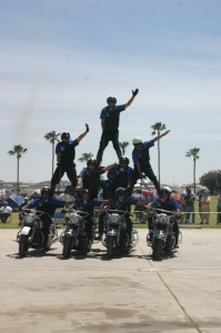 The VMMC performing their signature pyramid at the fairgrounds