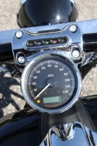 In keeping with the Breakout's lean lines, the speedometer sits low on the riser clamp