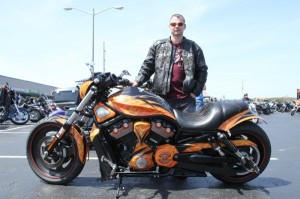 Billy Daniel with his spectacular Night Rod that took first place in the V-twin Custom class