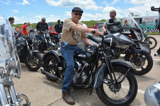 Jack Larson rode in on his '47 Harley