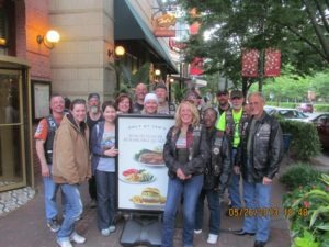 Members of Rolling Thunder Chapter 2 New Jersey outside of Ted's Montana Grill