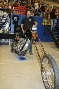 """Dan """"Bacon"""" Carr with DC Choppers from Spicewood brought out his super-stretched Knucklehead"""