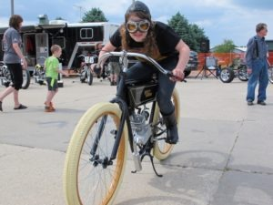 Hailey Braunsky, ready to race on her replica 1920 H-D Board Track Racer
