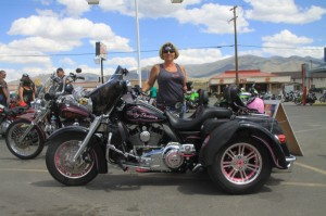 Cindy Barbour won first place in the Trike Division, a 2014 Run-A-Mucca event package for two and a three day hotel package in the raffle