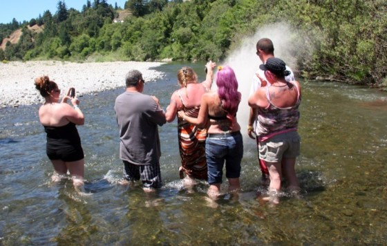 Bobbie Smirl (center) gathered with family and friends to scatter her late husband Pete's ashes in the Eel River