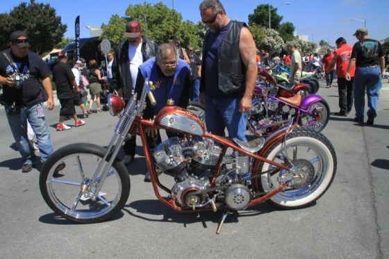 Gawkers inspect custom builds at the AMD Custom Bike Show