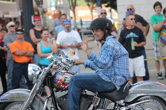 2013 Roar on the Shore Grand Marshal Kyle Petty leads the Bringin' in the Roar Parade