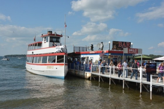 """The """"Queen II"""" was reserved by Polaris for a private cruise on Lake Okoboji for Victory riders"""
