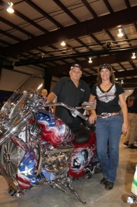 Jim Barron and Colleen Harmon with Jim's '07 Boss Hoss at the ride-in bike show