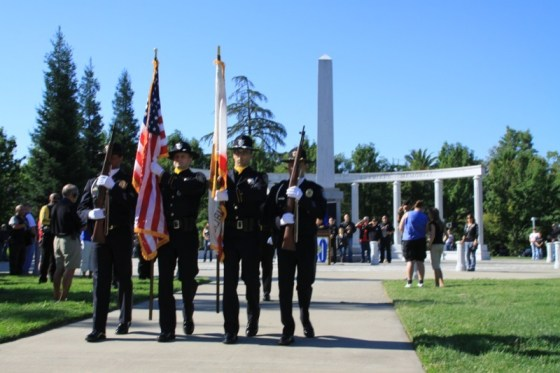 The Color Guard comprised of Sacramento Sheriff's Office and Elk Grove Police Department retires the colors after the ceremony
