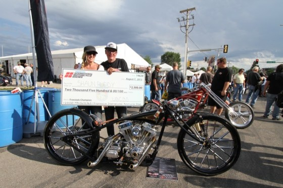Sheree and Shaun Ruddy with Shaun's boardtrack-inspired custom that took 1st place in the Ultimate Builders Freestyle Class