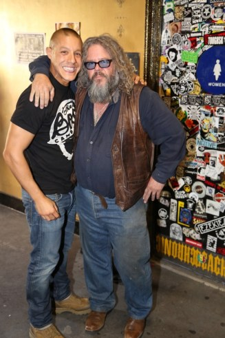 "Theo Rossi (a.k.a. Juan Carlos ""Juice"" Ortiz) and Mark Boone Junior (a.k.a. Robert Munson) at the media-only red carpet event in Long Beach"