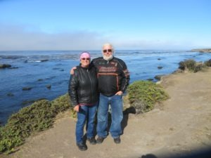 Dawn and Bill Tull take a pause at the San Simeon Overlook