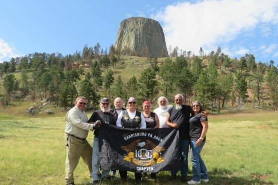 Flying the Harrisburg H.O.G. chapter flag at Devil's Tower