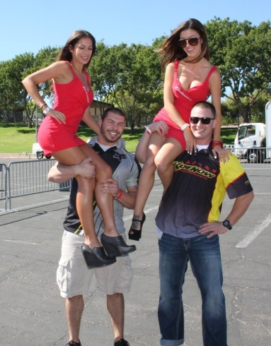 Nick Pierson (l) of RideNow Powersports and his co-worker Kyle Llewellen took first and second place, respectively, in the World's Strongest Biker competition