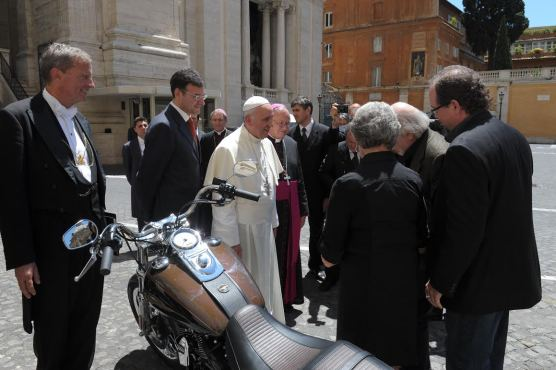 Pope Francis with his 2013 Harley-Davidson Dyna Super Glide