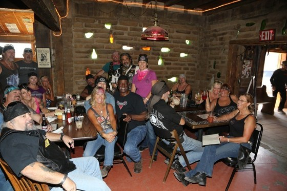 Bikers assemble inside Pappy & Harriet's in Pioneertown for some cold refreshments and fun
