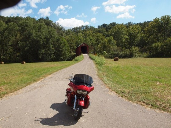 The historic Hune Covered Bridge sits just off Highway 26 south of Marietta, Ohio