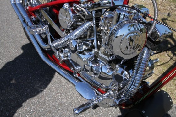 The Rivera SU carburetor and air cleaner and the customized Mid-USA oil tank are just a few of the components giving the chopper its unique character