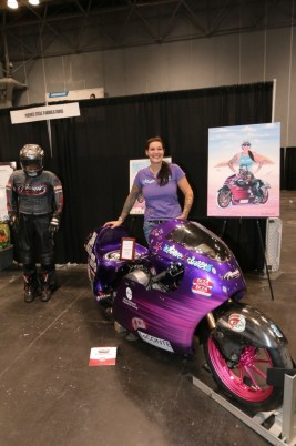 Land Speed Racing record-holder Jody Perewitz made an appearance with her bike, racing suit, and new portrait by Eric Herrmann