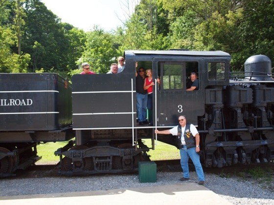 All aboard! The group checks out the Cass Scenic Railroad State Park.