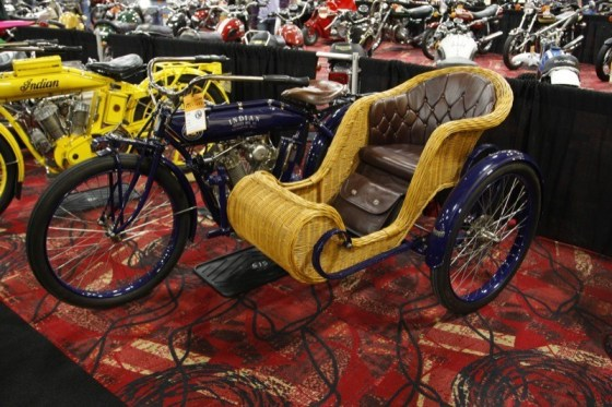 This 1910 Indian Big Twin made a 4,235-km trip across Australia in 2012, complete with passenger and gear. The striking machine sold for $67,500.