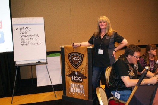 Instructor Anne Saults leads a seminar at H.O.G. Officer Training in Las Vegas