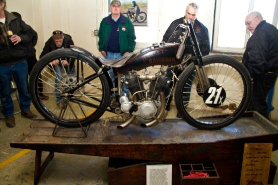 Mike Lange's 1921 Harley-Davidson board track/dirt track racer and antique workstand