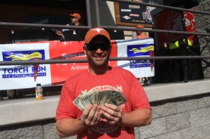Tony Bendell from nearby Gilbert won $530 in the 50/50 drawing and donated $100 back to Special Olympics