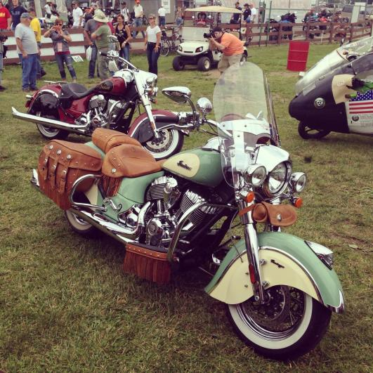 Indian unveiled their two-tone paint schemes at Vintage Days 2014 in Lexington, Ohio (photo courtesy of Rider magazine)
